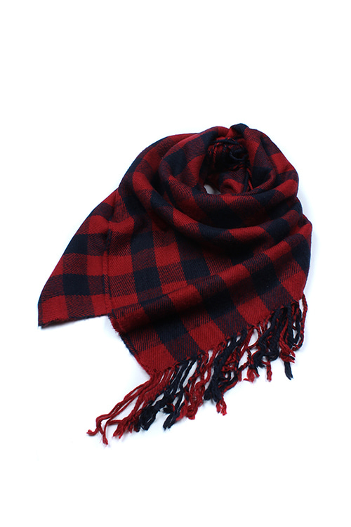 RED GINGHAM CHECK SCARF