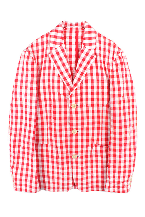 RED PLAID SEERSUCKER BLAZER