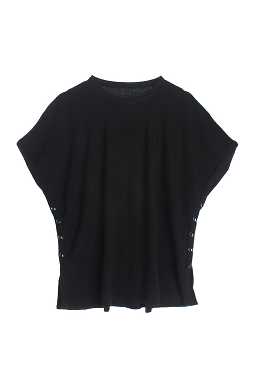 BUTTONED BLACK KNIT TOP