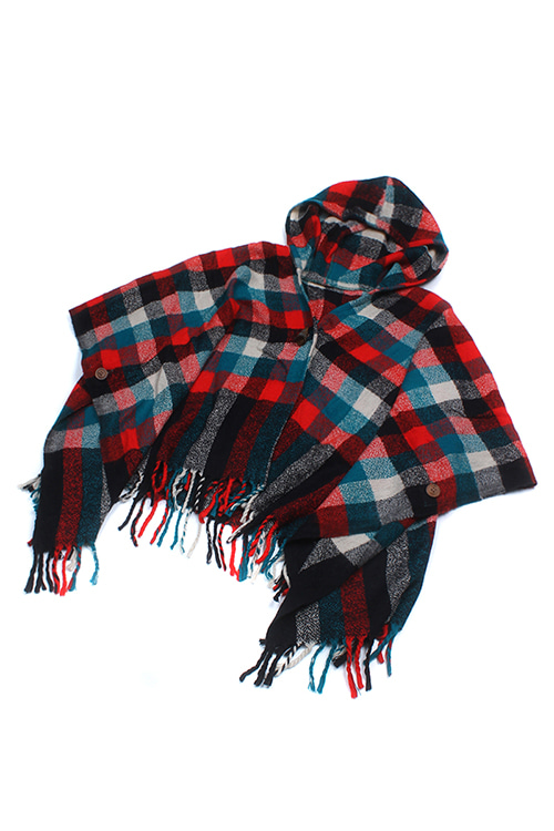 CHECK PATTERNED HOODED PONCHO