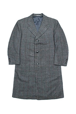 GREY PLAID SINGLE COAT