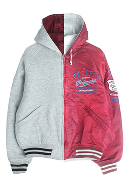 REVERSIBLE HOODED ZIP-UP