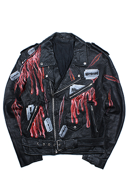 RAZOR BLADE PRINTED BIKER JACKET [GENUINE LEATHER]
