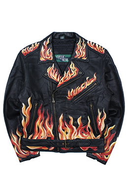 FLAME PRINTED BIKER JACKET [GENUINE LEATHER]
