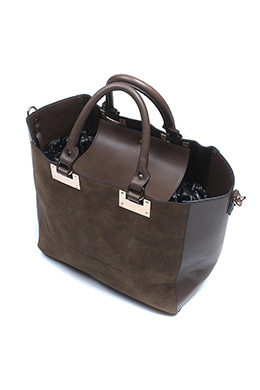 BROWN LEATHER SHOPPER BAG